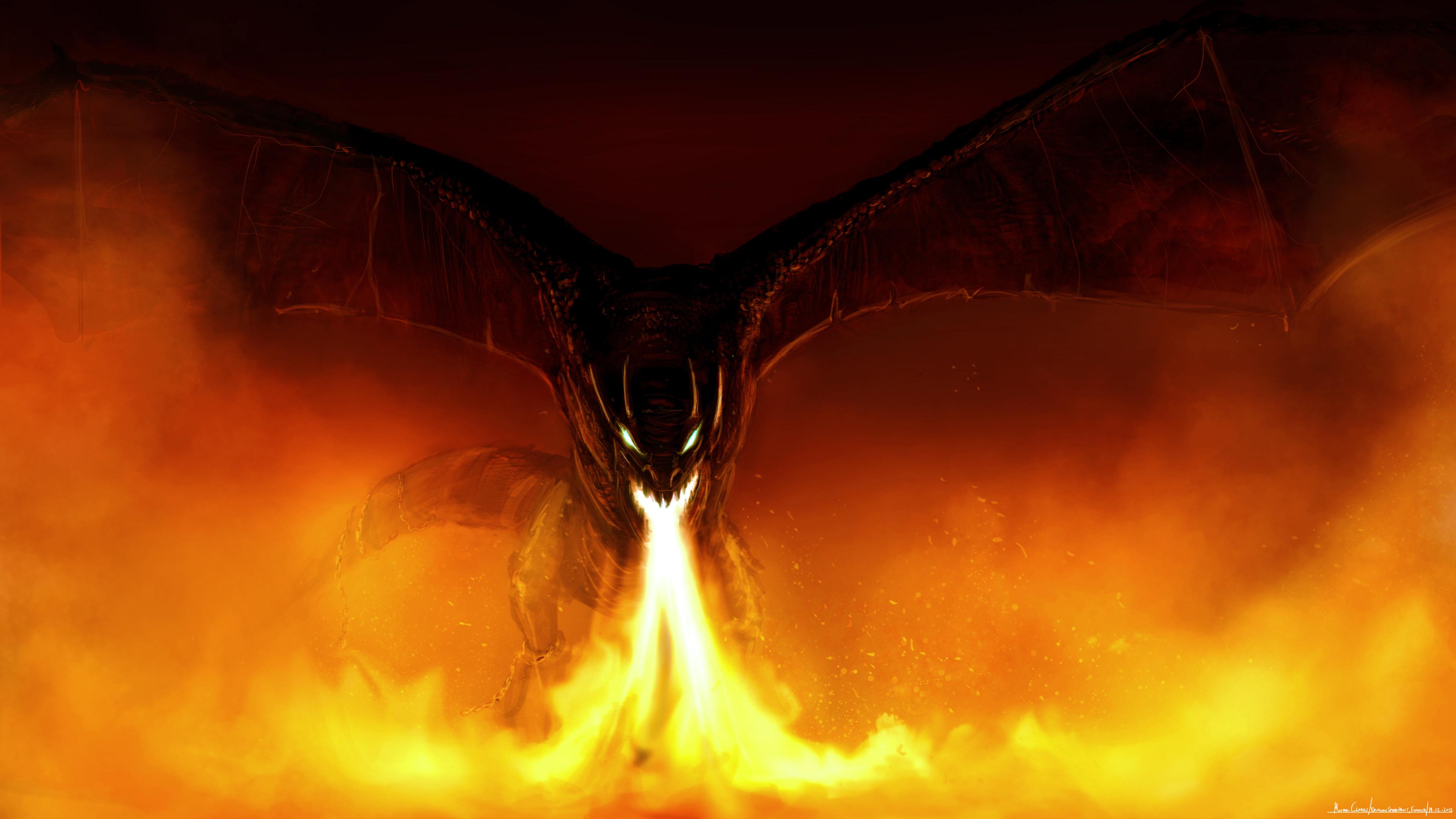 Картинки дракон огонь