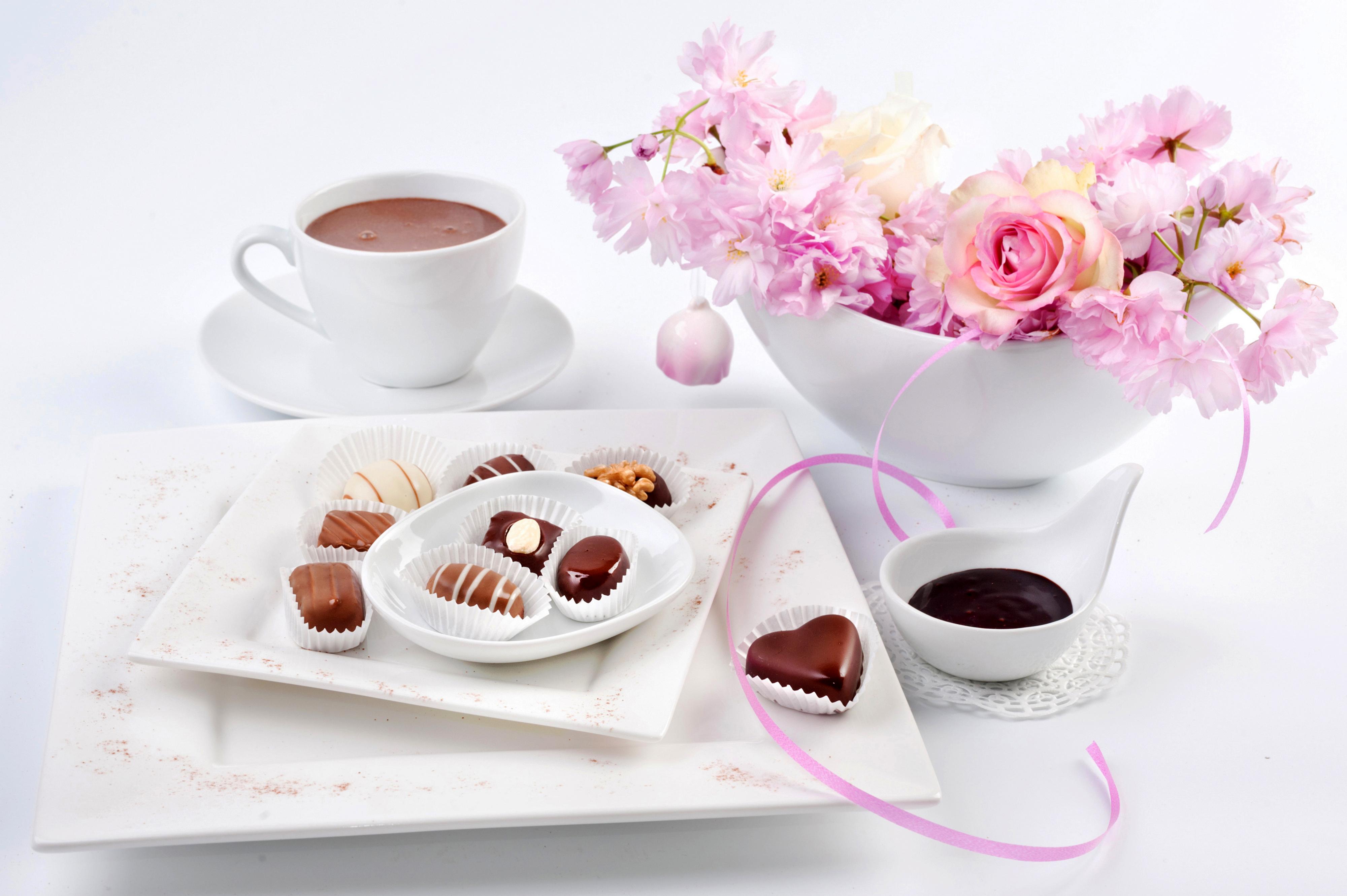 стараясь открытки утро чай кофе цветы представлены