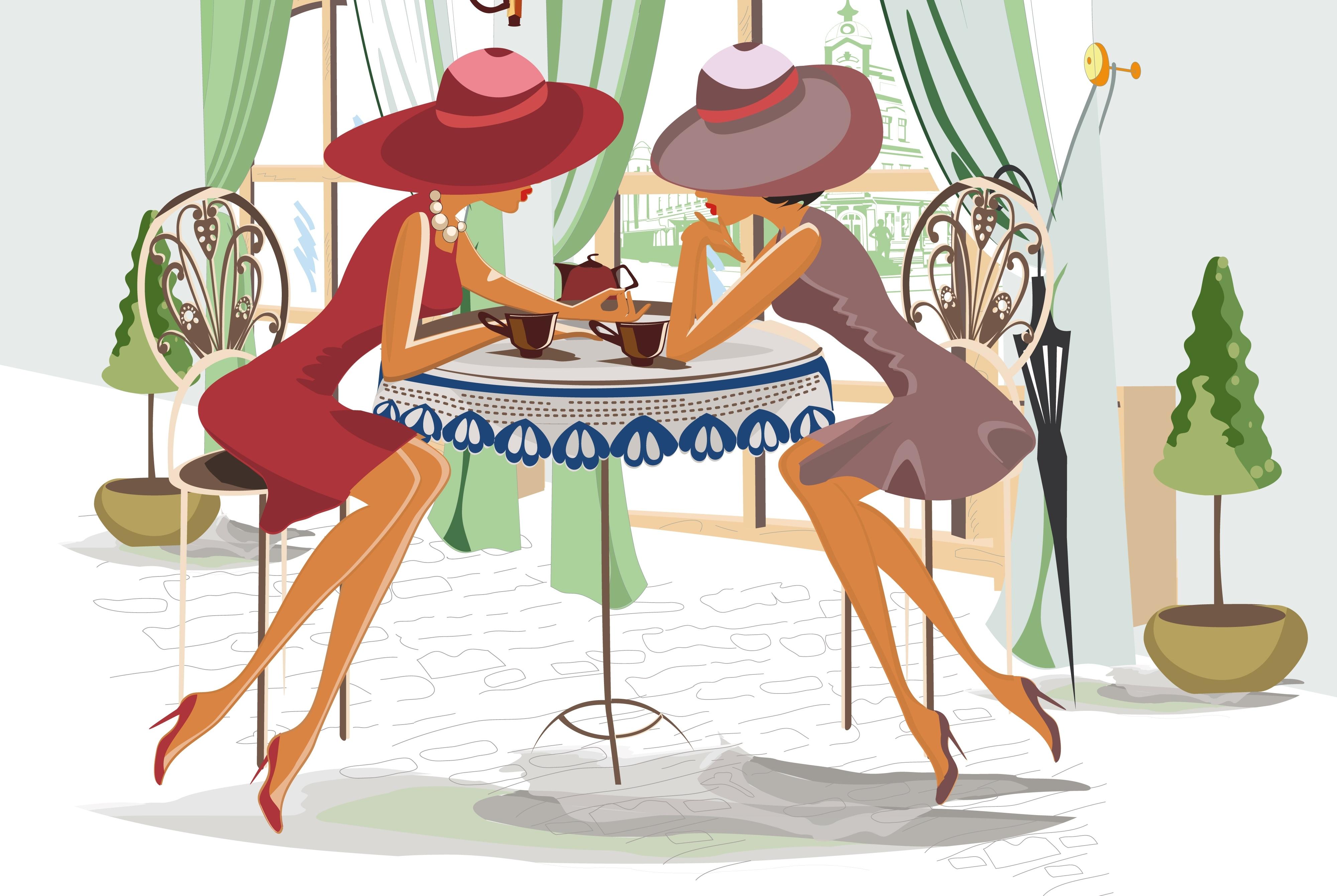 Картинка девчонки за столом
