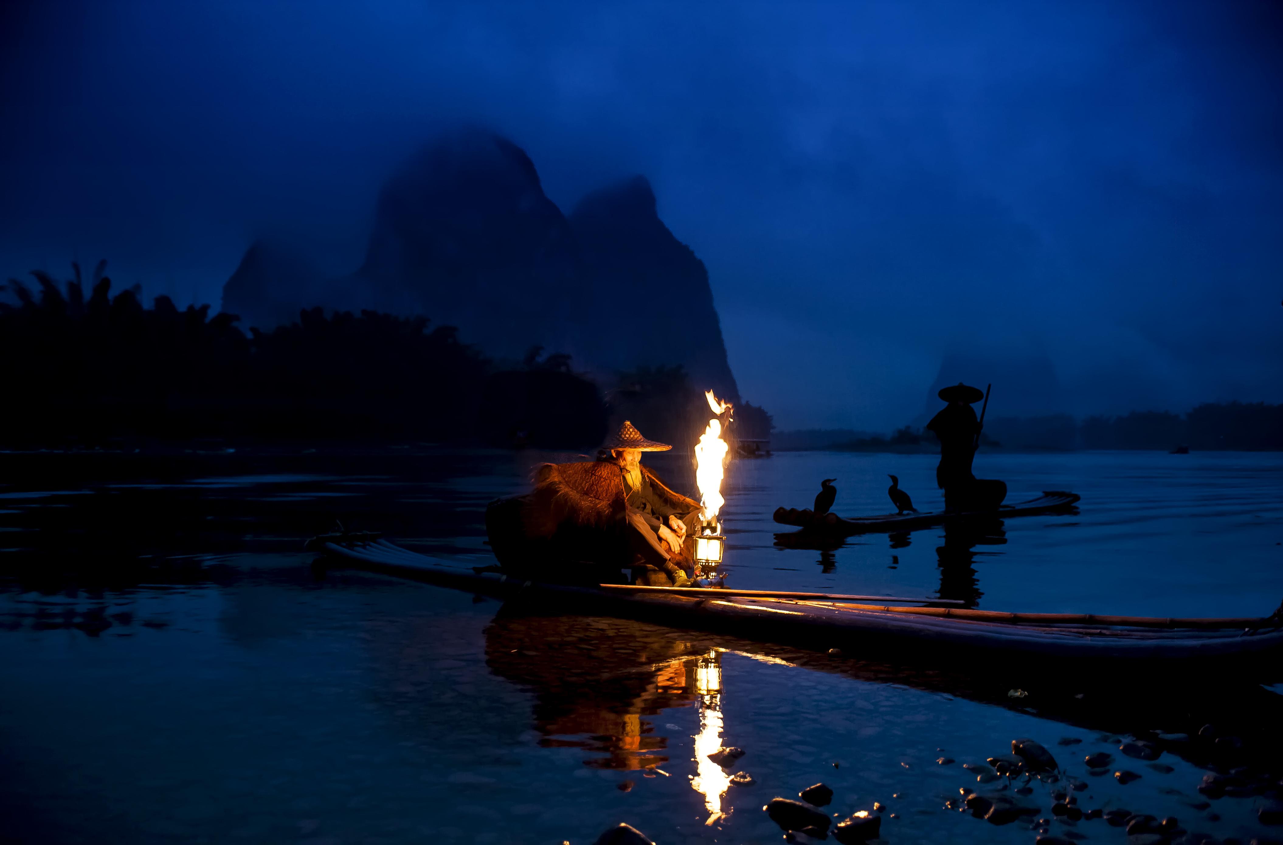 лодки ночь  № 3506459 бесплатно
