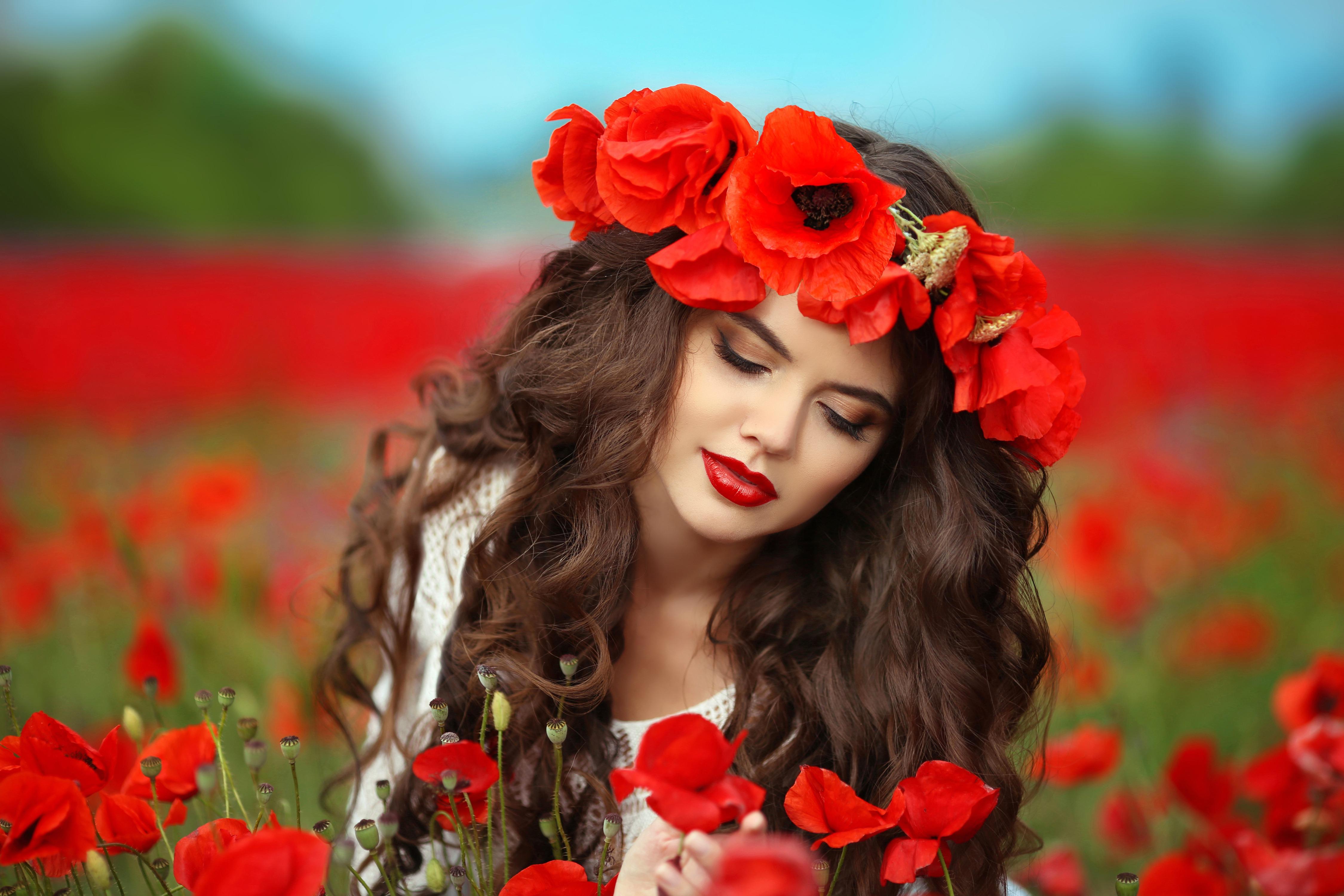 Фото красивые картинки девушка в цветах