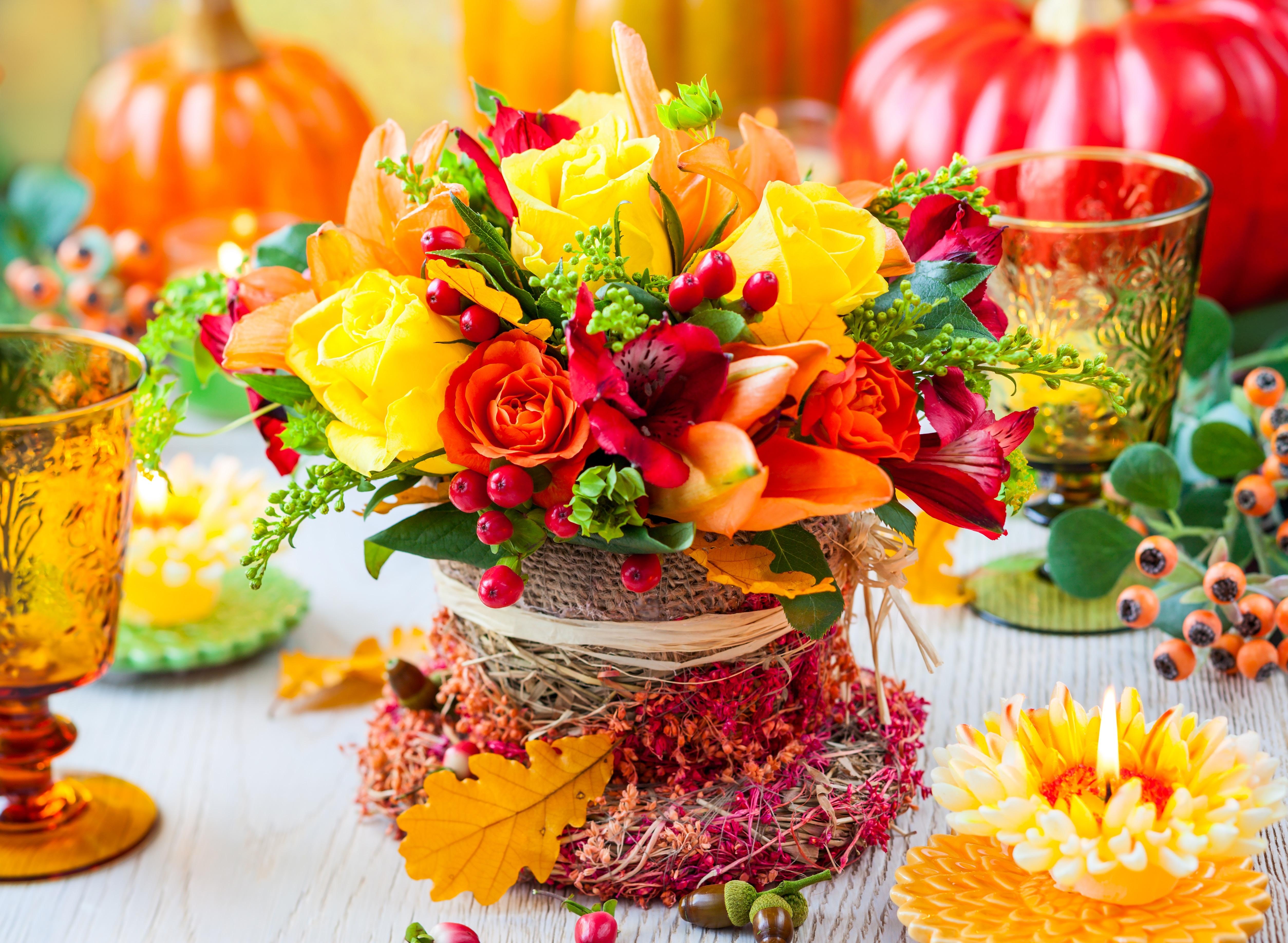 обои на рабочий стол осенние цветы композиции из цветов № 241456  скачать