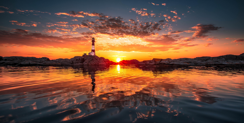 закат маяк море  № 1019870  скачать