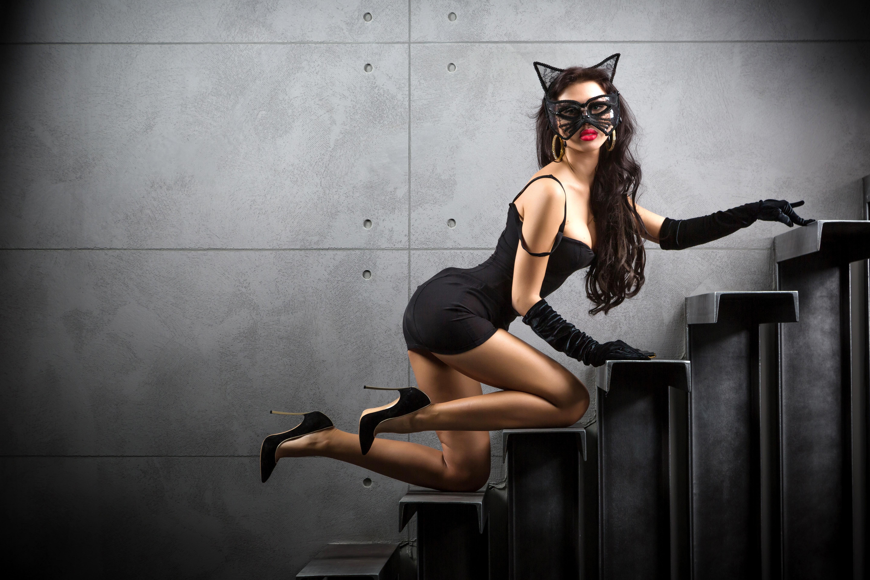 девушка кошка обои на рабочий стол № 523758  скачать