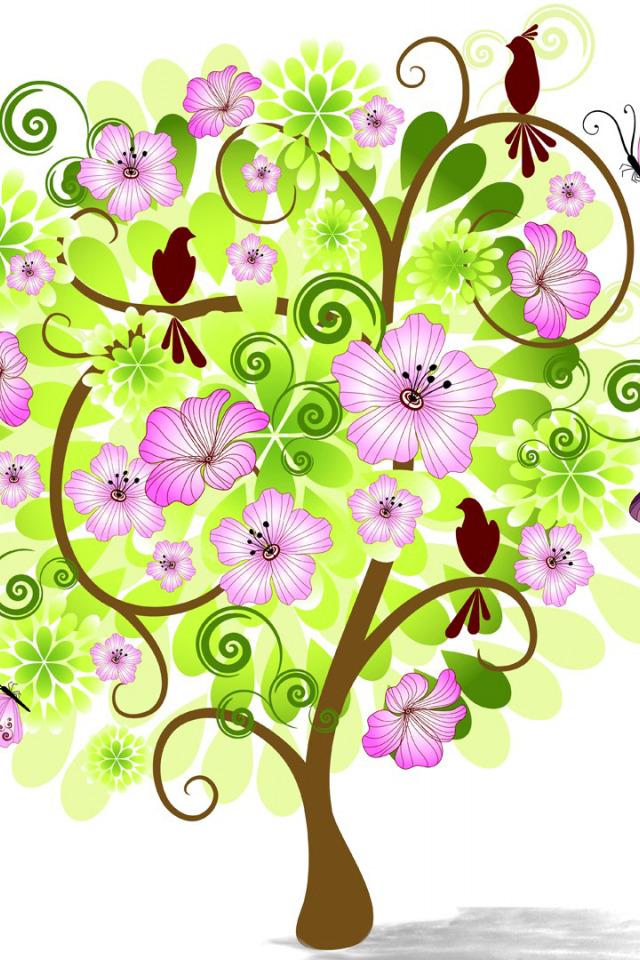 Картинки, открытка дерево с цветами