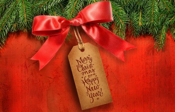 Картинка ветки, красный, фон, праздник, табличка, елка, новый год, ель, бант, happy new year, поздравление, бирка, …
