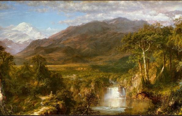Картинка небо, облака, снег, деревья, цветы, горы, ягоды, люди, обрыв, птица, листва, водопад, тропа, крест, деревня, …