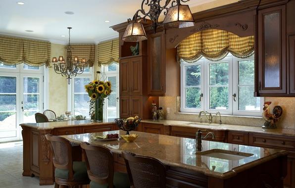 Картинка подсолнухи, дом, стиль, стол, мебель, интерьер, кухня, гарнитур