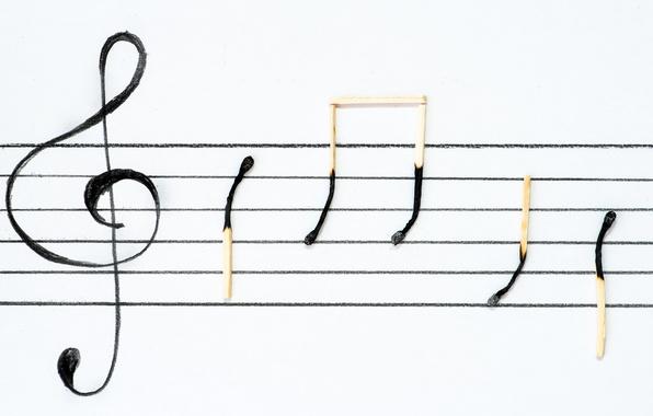 Картинка ноты, спички, знаки, скрипичный ключ, нотный стан