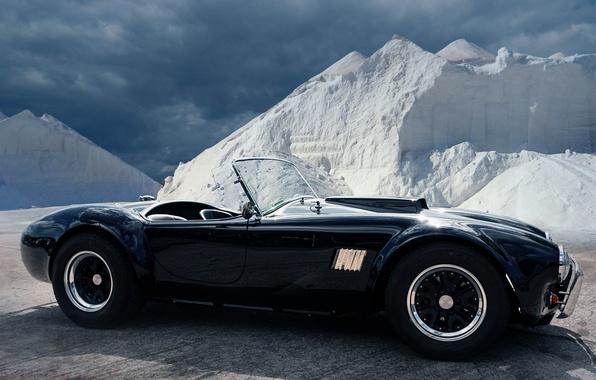 Картинка чёрный, roadster, sports car, AC Shelby Cobra