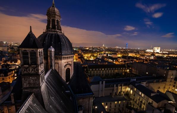 Картинка ночь, город, Франция, Париж, здания, дома, крыши, Paris, архитектура, купол, France