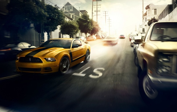 Картинка Mustang, Ford, Muscle, Car, Speed, Front, Sun, Street, San Francisco, Yellow, 302, Boss