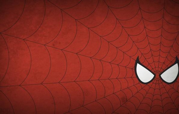 Картинка человек-паук, spider-man, рисунок, минимализм, паутина, minimalism, 1920x1080, picture, web