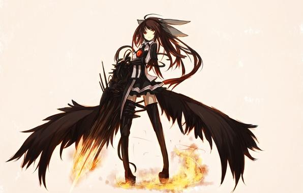 Картинка девушка, оружие, крылья, аниме, арт, touhou, shirogane usagi, Reiuji Utsuho