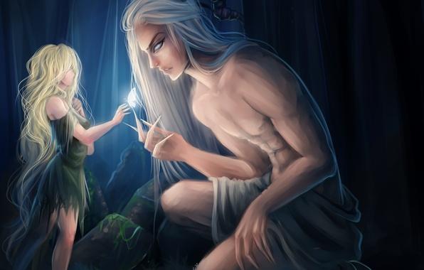 Картинка девушка, бабочка, демон, арт, рога, парень