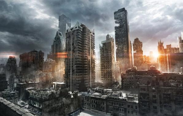 Картинка солнце, тучи, город, восход, утро, арт, руины, постапокалиптика, jenovah-art