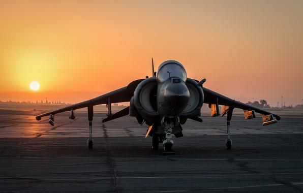 Картинка закат, штурмовик, Harrier II, AV-8B, «Харриер» II