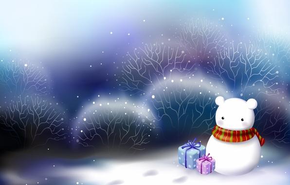 Картинка белый, снег, новый год, рождество, арт, подарки, снеговик, christmas, new year