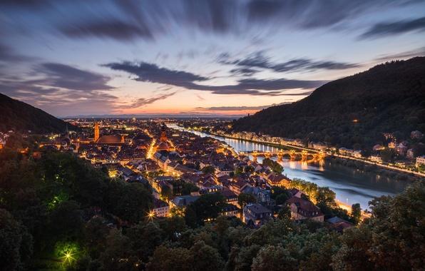 Картинка город, огни, вечер, Германия, Хайдельберг