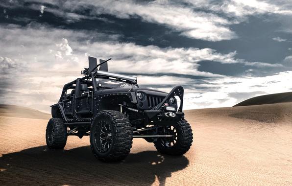 Картинка чёрный, пустыня, джип, black, desert, front, пулемёт, Wrangler, Jeep, вранглер