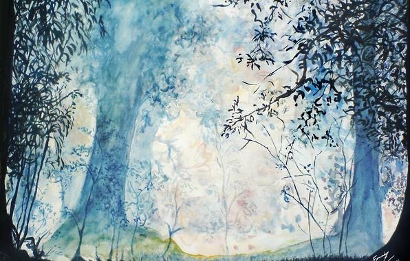 Фото обои деревья, трава, нарисованный пейзаж, лес, листья