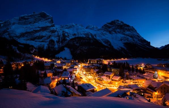 Картинка зима, свет, снег, горы, ночь, огни, Франция, здания, дома, деревня, Альпы, France, Vanoise, Вануаз