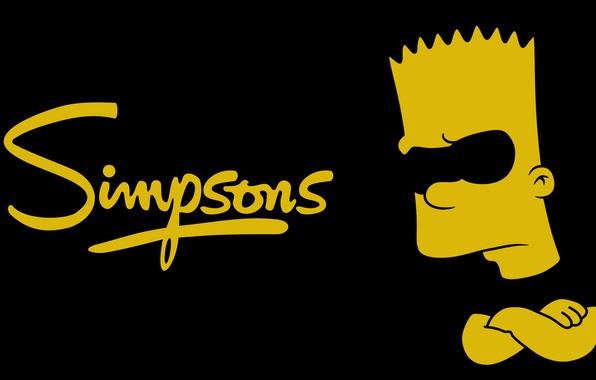 Картинка Симпсоны, Минимализм, Черный, Желтый, Simpsons, Барт, The, Bart