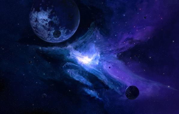 Картинка космос, фон, widescreen, обои, планета, спутник, вспышка, space, wallpaper, широкоформатные, art, background, planet, satellite, полноэкранные, …