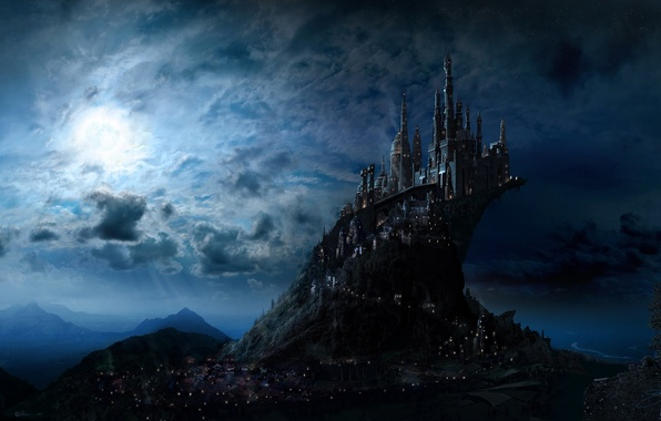 Картинка небо, свет, ночь, город, замок, фантастика, луна, арт, fantasy