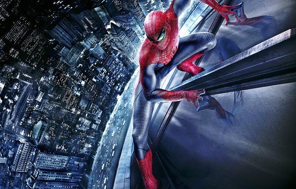 Картинка car, city, wallpaper, art, spider man, building, the amazing