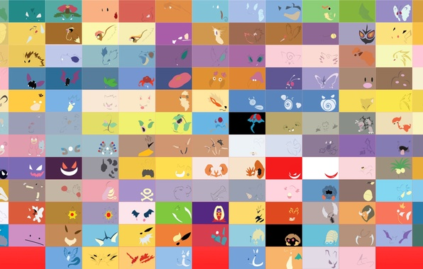 Картинка игра, рисунок, цвет, минимализм, текстура, аниме, символ, pokemon, ячейка