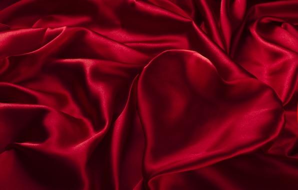 Картинка сердце, текстура, шелк, ткань, красная, складки, сатин
