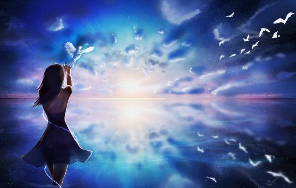 Картинка небо, вода, девушка, облака, волосы, спина, руки, платье, арт, голуби