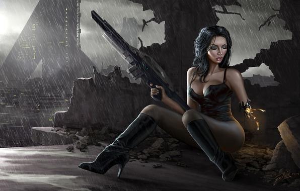 Картинка город, дождь, Девушка, развалины, киборг, винтовка