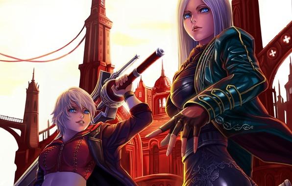 Картинка город, оружие, девушки, меч, арт, devil may cry, dantewontdie
