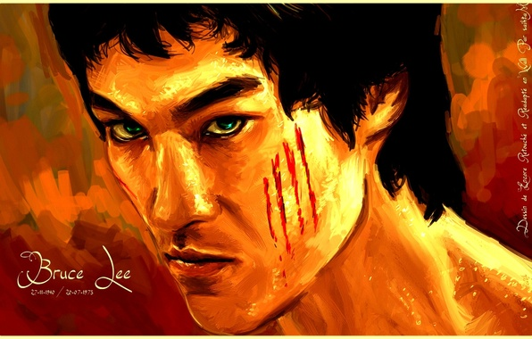Картинка глаза, взгляд, лицо, widescreen, яркие, дракон, art, красивые обои, брюс ли, bruce lee
