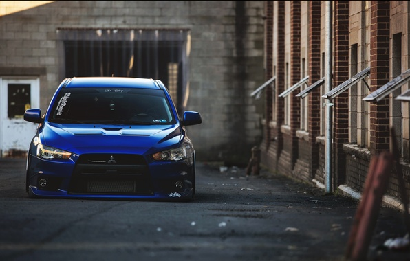 Картинка Синяя, Desktop, Mitsubishi, Lancer, Evolution, Автомобиль, Beautiful, Style, Лансер, JDM, Обоя, Automobile, Эволюшен, Митсубиши