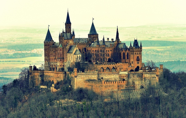 Картинка пейзаж, природа, гора, Германия, Castle, Гогенцоллерн, Burg Hohenzollern, замок-крепость