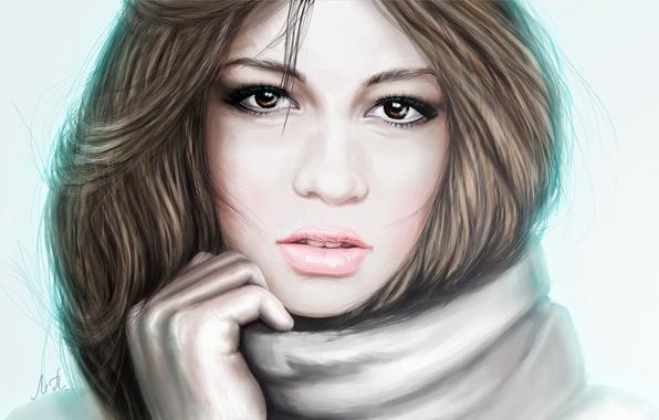 Картинка глаза, взгляд, девушка, лицо, волосы, рука, арт, белый фон
