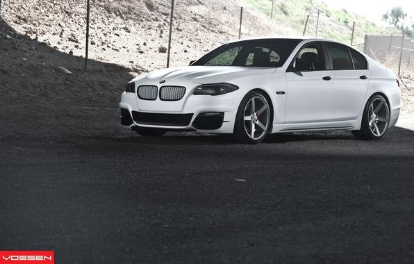 Картинка BMW, white, 5 series, f10, vossen