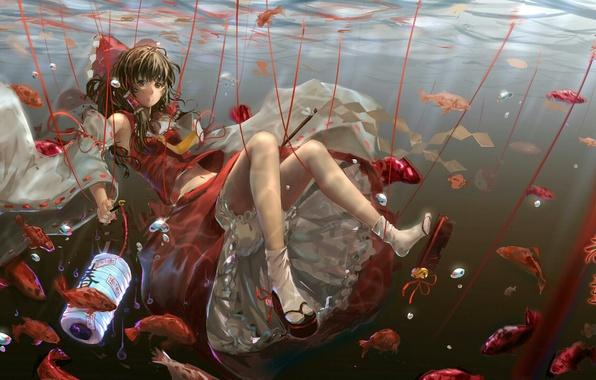 Картинка девушка, рыбки, аниме, арт, фонарик, бант, под водой, touhou, нити, hakurei reimu, luomo