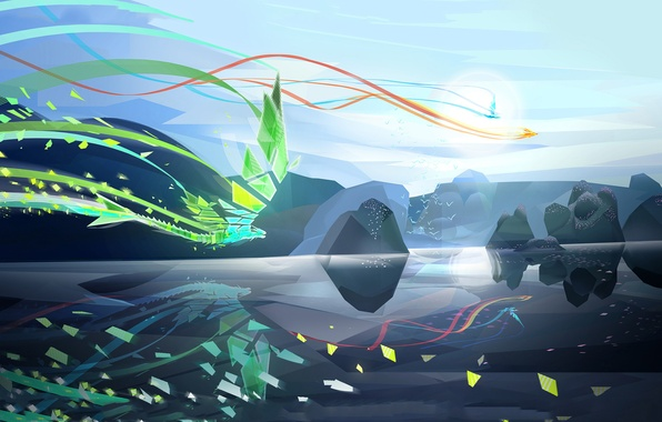 Фото обои птицы, озеро, полет, арт, существа, камни