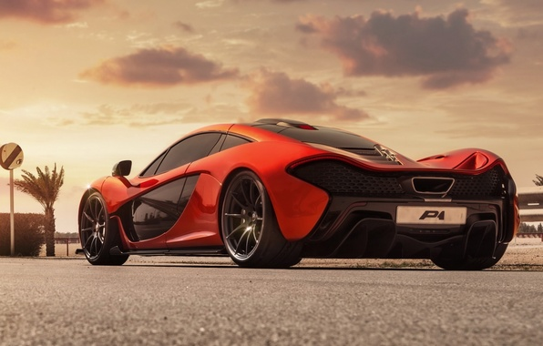 Картинка Concept, облака, оранжевый, McLaren, концепт, суперкар, вид сзади, МакЛарен