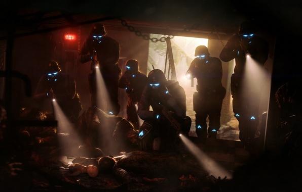 Картинка смерть, страх, кровь, темно, фонарь, шлем, трупы, спецназ