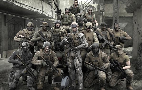 Картинка Солдаты, Оружие, Solid Snake, Metal Gear, PS3, Биг Босс, Metal Gear Solid 4: Guns of …