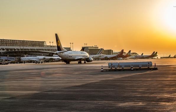 Картинка Закат, Восход, Аэропорт, Boeing, Самолёт, Пассажирский, 737