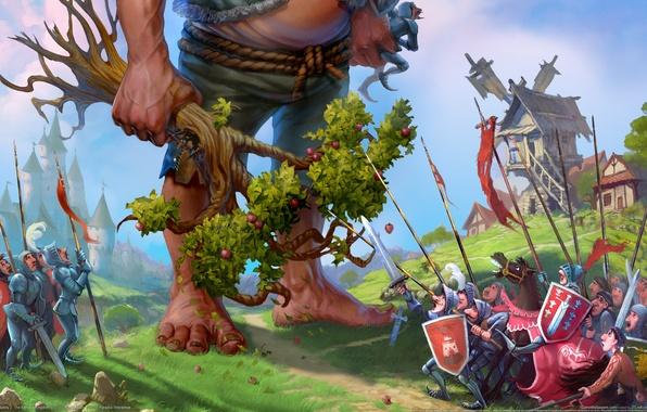 Картинка замок, дерево, армия, деревня, великан, мельница, яблоня, majesty 2, the fantasy kingdom sim, трусливая