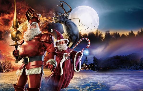 Картинка олень, Santa Claus, Санта-Клаус