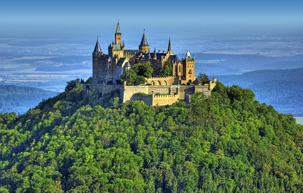 Картинка лес, пейзаж, природа, высота, гора, Германия, Замок, крепость, Castle, Гогенцоллерн, Burg, Hohenzollern
