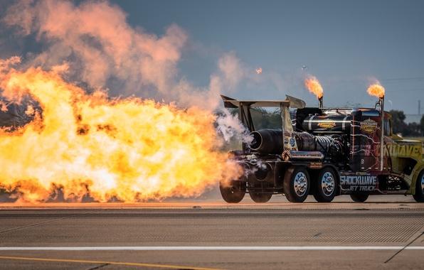 Картинка огонь, пламя, турбины, грузовик, тягач, Peterbilt